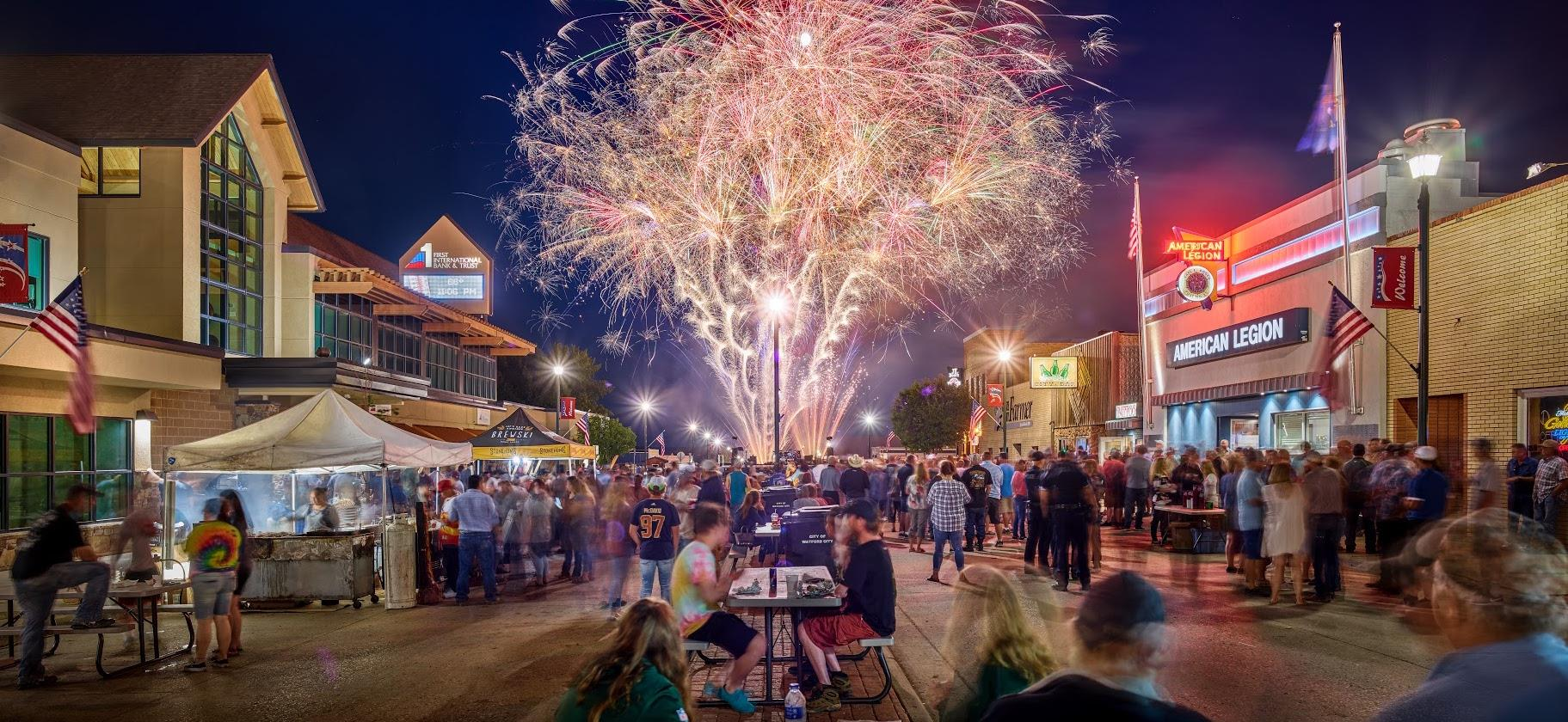 Fireworks during Watford City Homefest
